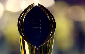 ARLINGTON, TX - JANUARY 12: National Championship Trophy sits in the end zone prior to the College Football Playoff National Championship Game between the Oregon Ducks and the Ohio State Buckeyes at AT&T Stadium on January 12, 2015 in Arlington, Texas. (Photo by Ronald Martinez/Getty Images)